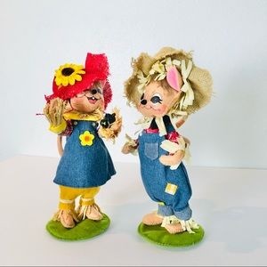 """Annalee Scarecrow Girl and Boy Mice 9"""""""